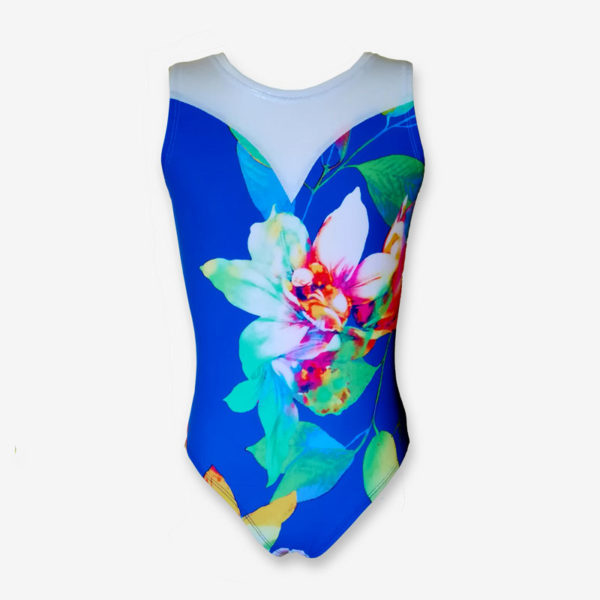 A short-sleeved leotard in a royal blue with a large floral print, and a white sweetheart design