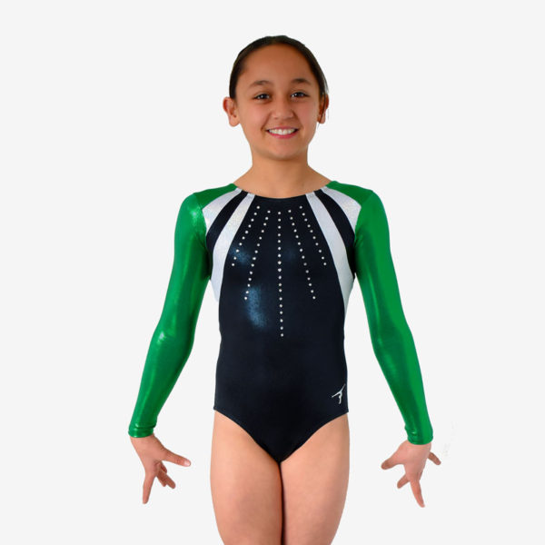 Leotard with green sleeves, white diagonal panels across the shoulders, and a black body with lines of rhinestones down the front