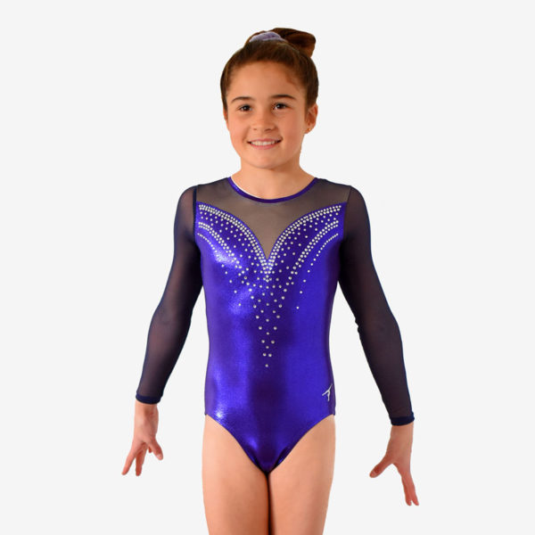 Purple long sleeve leotard with a sweetheart design decorated with rhinestones, with navy mesh sleeves