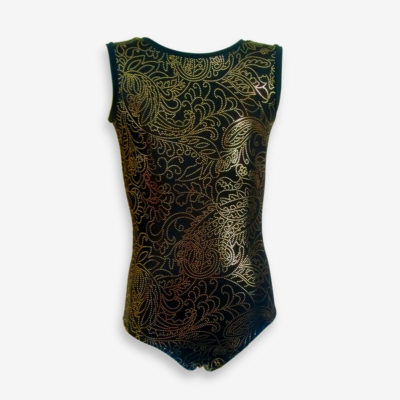 A black short-sleeved leotard with gold foil dots in swirling patterns