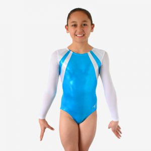 Leotard with white mesh sleeves, white diagonal panels across the shoulders, and an aqua body