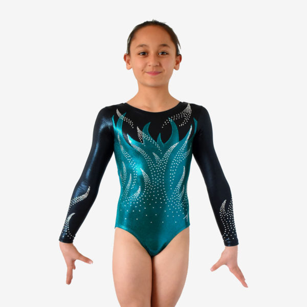 A teal leotard with black sleeces, adorned with thousands of rhinestones in the shape of flames on the torso and sleeves