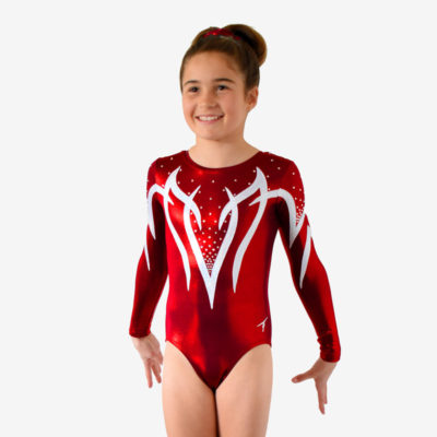 A burgundy red long sleeve leotard with white spiked shapes across the chest and shoulders