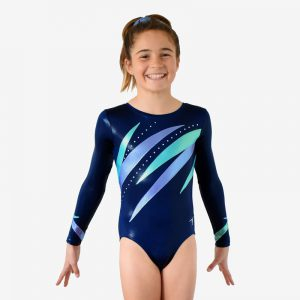 A navy blue long sleeve leotard with lavender and mint diagonal spikes across the chest and wrists