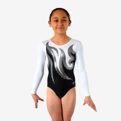 A black leotard with white sleeves and a swirling grey design across the front