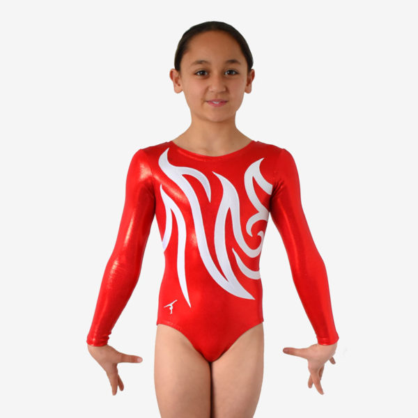 A red long sleeve leotard and a swirling white design across the front