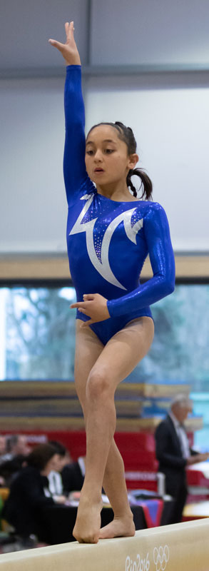 A gymnast poses on the beam in a blue and white long sleeve leotard
