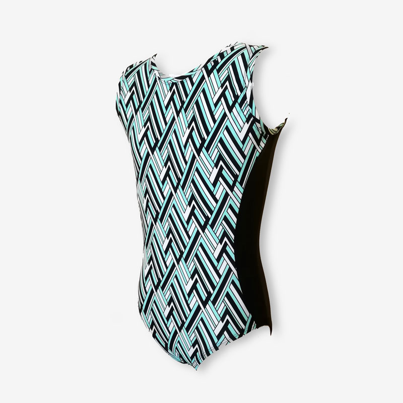 A short sleeve leotard with busy geometric pattern in pale blue, white and black
