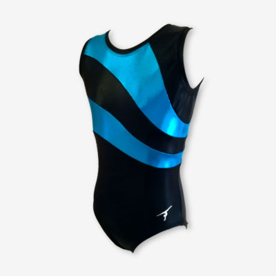 A short sleeved leotard with black and aqua blue panels