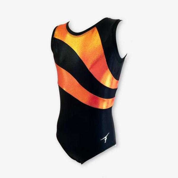 A short sleeved leotard with black and orange panels