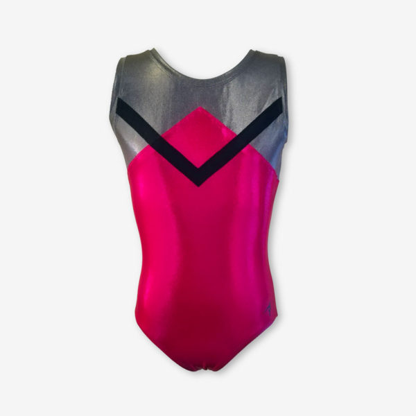 A short sleeved raspberry pink leotard with an angular design in grey and black across the chest and shoulders