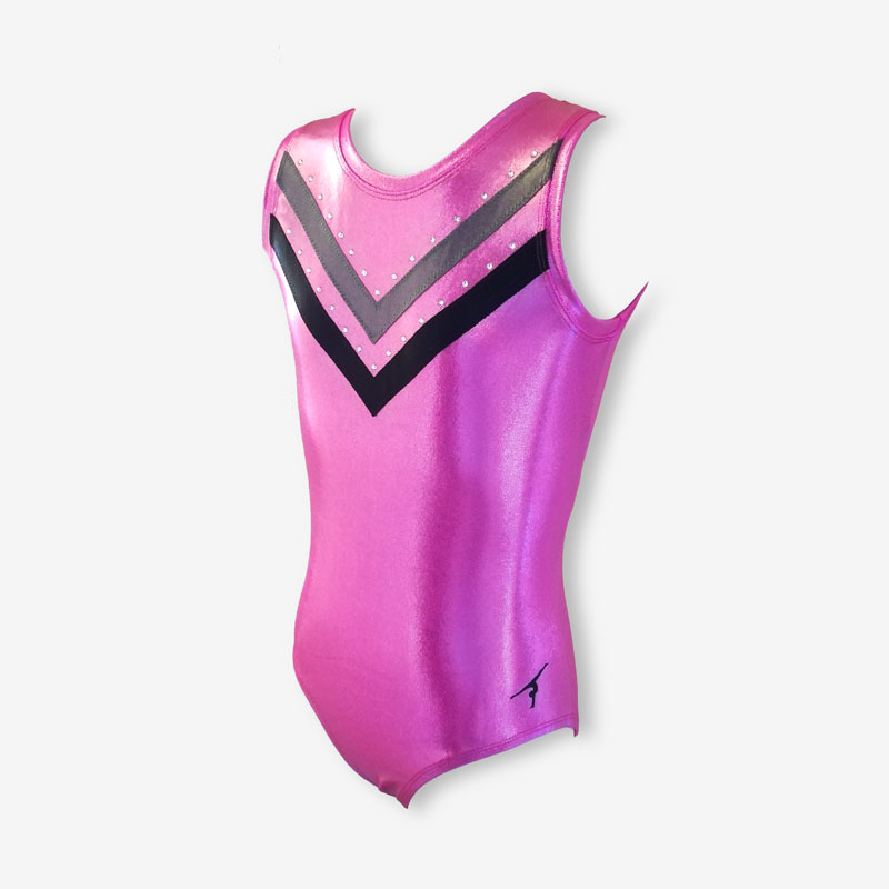A pale pink short-sleeved leotard with grey and black spikes across the chest
