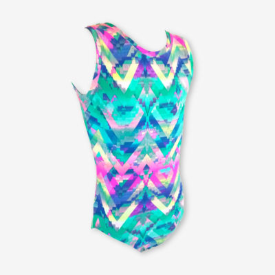 A short sleeve leotard with a geometric zigzag pattern in mint green and bright pinks