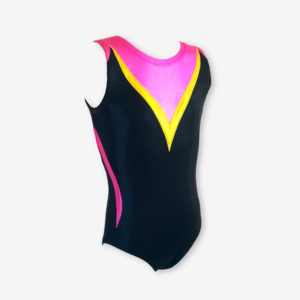 A black leotard with a deep sweetheart neckline, highlighted with hot pink and yellow